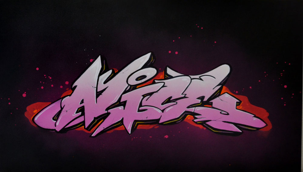 graffiti sur toile avec son nom