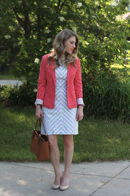 light blue and white striped dress, coral blazer, Tory Burch tote, nude heels. summer work outfit, how to wear a coral blazer