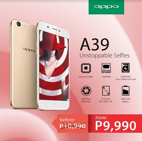 OPPO A39 Now Affordable at Php9,990