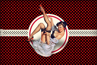 Pin Up in Black with Red Polka Dots Free Printable Invitations, Labels or Cards.