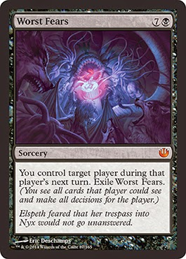 MtG expansion Journey into Nyx black sorcery Mindslaver