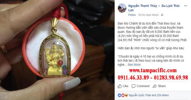Đi du lịch Thái Lan chi 35000 Baht thỉnh chiếc vòng cổ có mặt tượng Phật