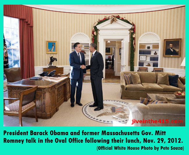 President Barack Obama and former Massachusetts Gov. Mitt Romney talk in the Oval Office