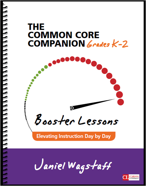 Relevant, purposeful reading and writing integrated across the curriculum.  This is teaching and learning at its best!  This blog post has an example of a lesson from the Corwin book Booster Lessons: Elevating Instruction Day by Day K-2 by Janiel Wagstaff.