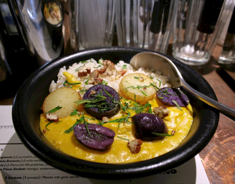 Andina, Shoreditch - The chicken aji de gallina is described rather blandly on the menu as a mini casserole with pecans, potato and olives but the taste was far from bland!  Topped with slices of potato, fat olives and bits of walnut, the dish was so creamy and filling.  It took me a while to figure out what the sauce was as I thought it might have had a hint of chilli or curry but was in fact cheese!  Absolutely delicious!