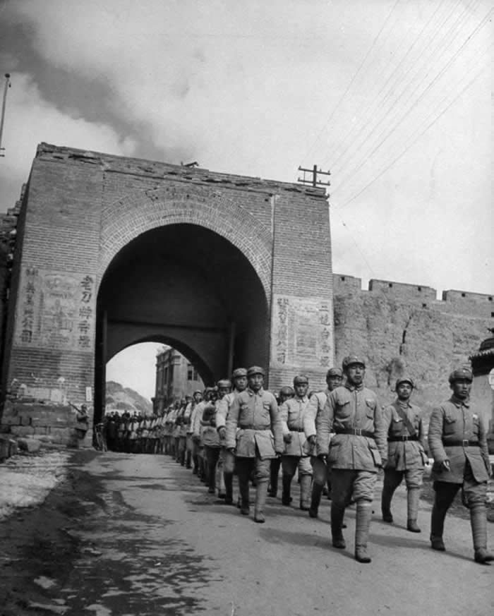 Communist Soldiers at Great Wall of China during Chinese Civil War.