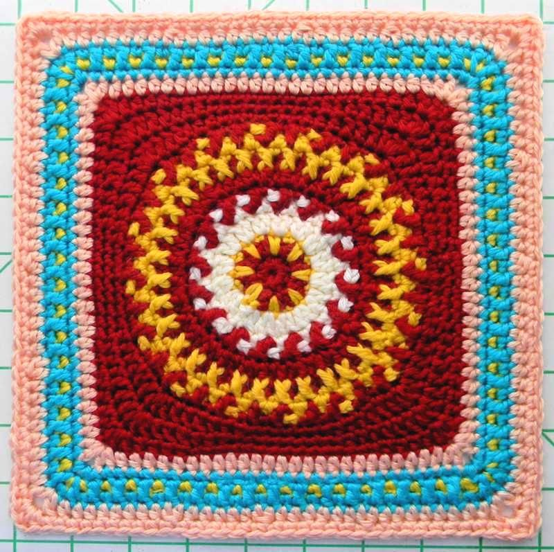 Free crochet pattern - Fire in the Meadow Granny Square