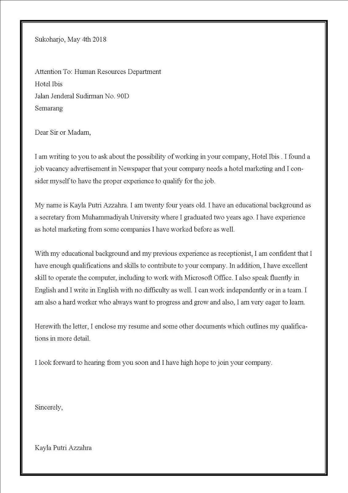 Contoh surat lamaran kerja di hotel untuk resepsionis dalam bahasa inggris