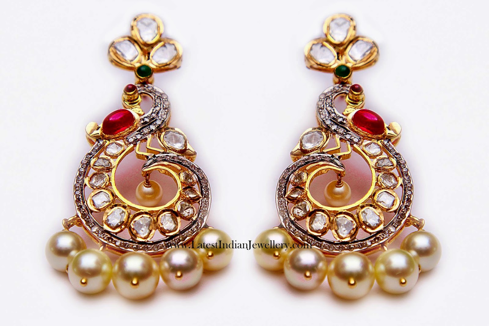 balis earrings peacock design chand bali earrings 7164