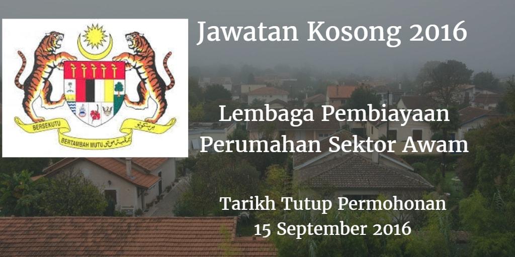 Jawatan Kosong Lembaga Pembiayaan Perumahan Sektor Awam 15 September 2016