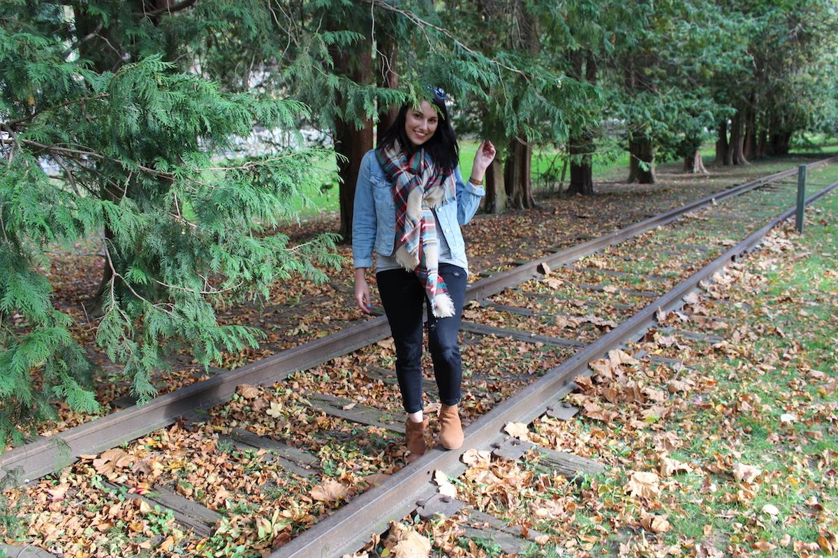 In this photo, I'm wearing fall attire (denim jacket and blanket scarf gives me away) and I'm hiding behind a tree in the Brandywine Park in Wilmington, Delaware.