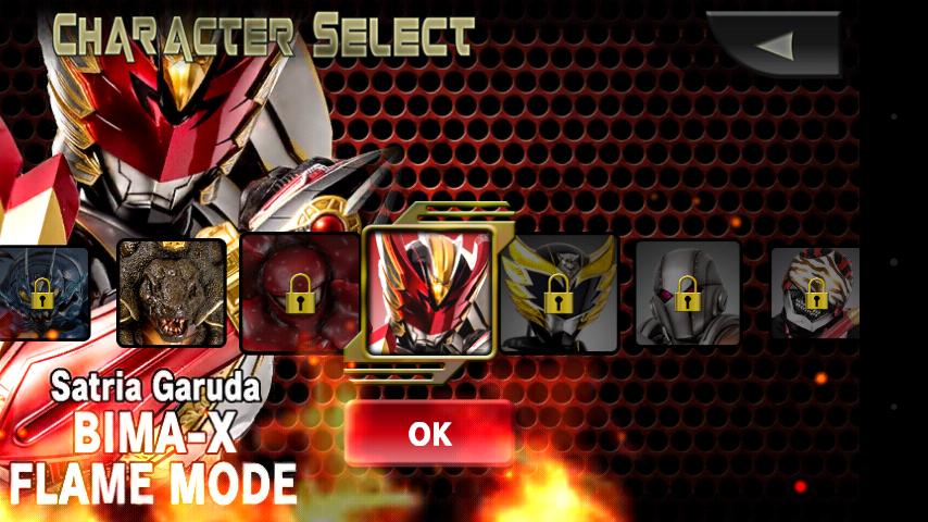 Daftar pilihan karakter Bima-X Android