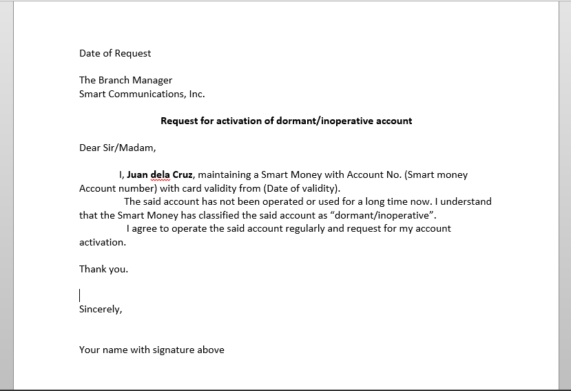 Application Letter For Bank Account Activation - Sample Letter to