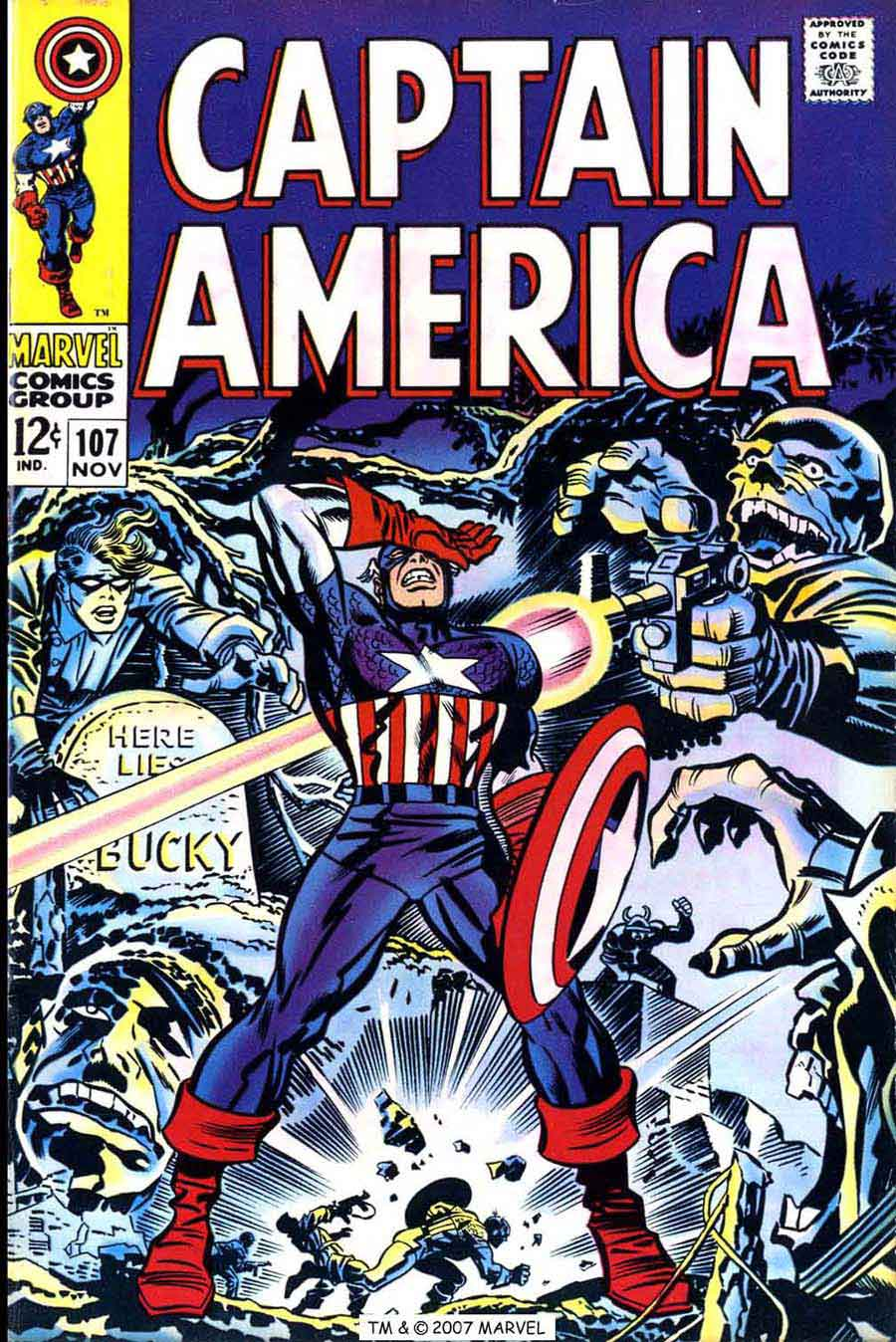 Captain America v1 #107 marvel comic book cover art by Jack Kirby