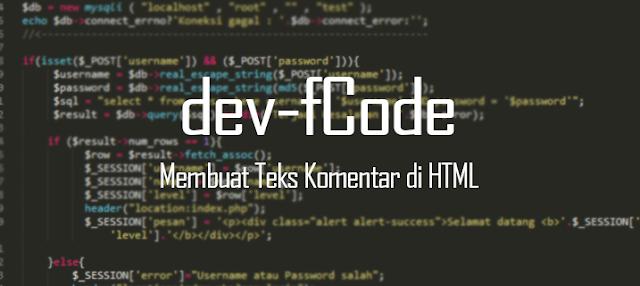 myfcode - Cara Membuat Teks Komentar Pada HTML