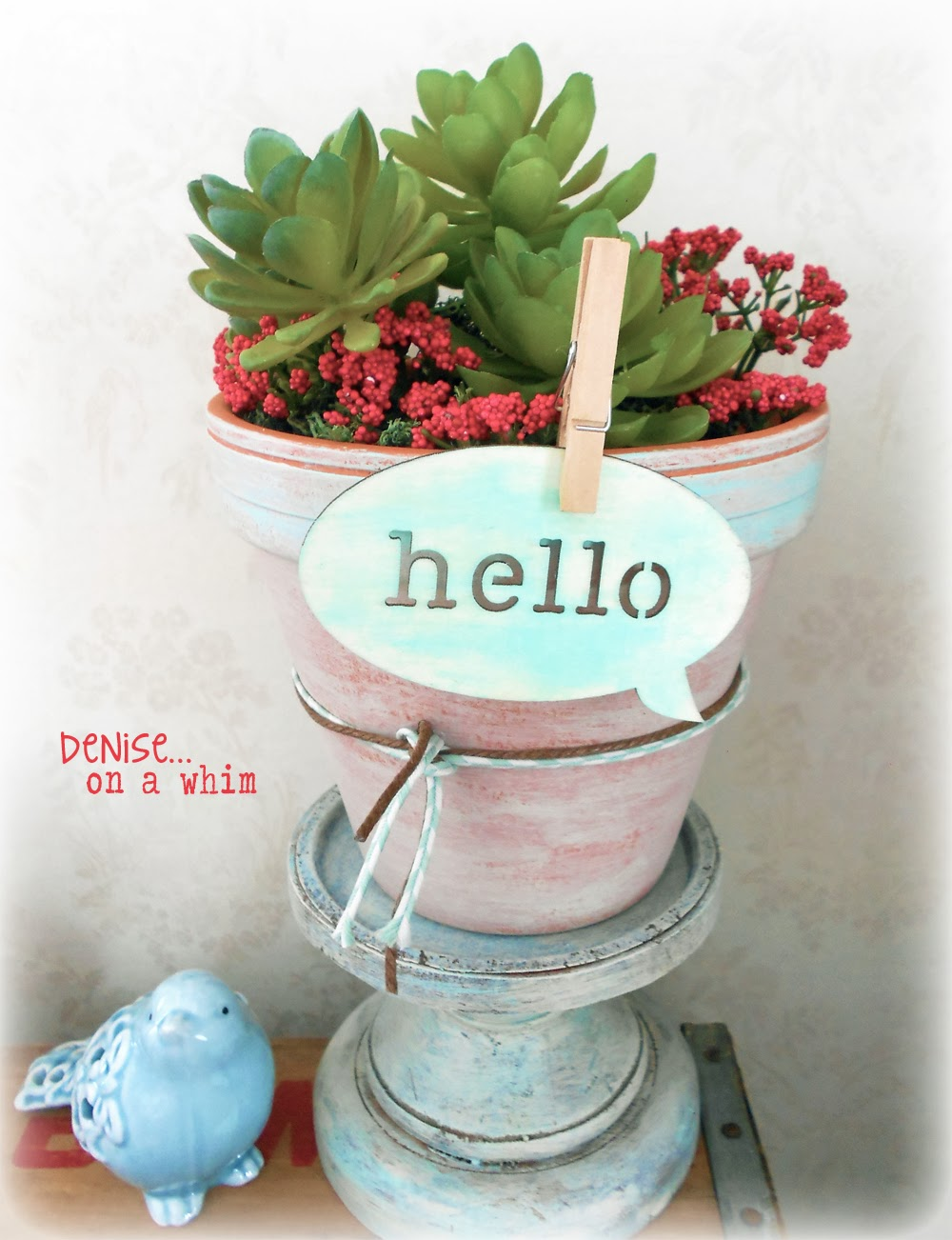 Succulent Arrangement and Wooden Tag via http://deniseonawhim.blogspot.com