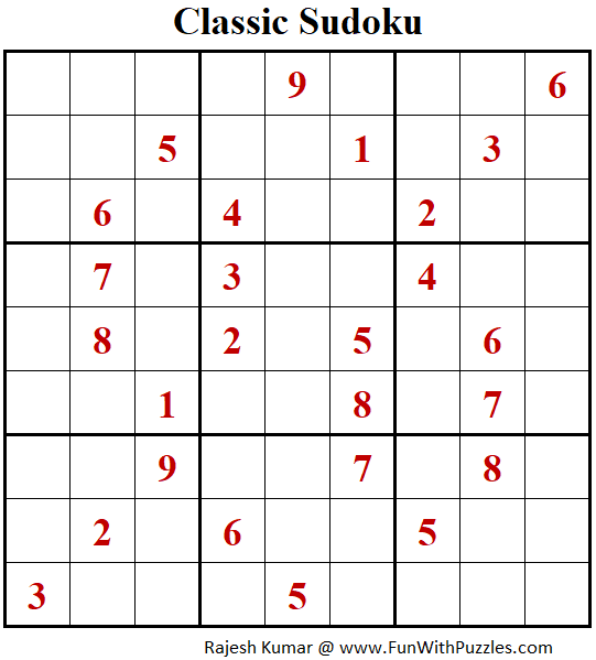 Classic Sudoku Puzzles (Fun With Sudoku #287)