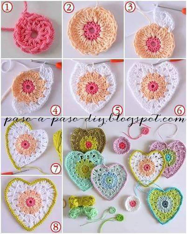 tutorial en imagenes de corazon crochet