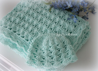 Lacy crochet summer baby blanket in variegated yarn free pattern dt1010fo