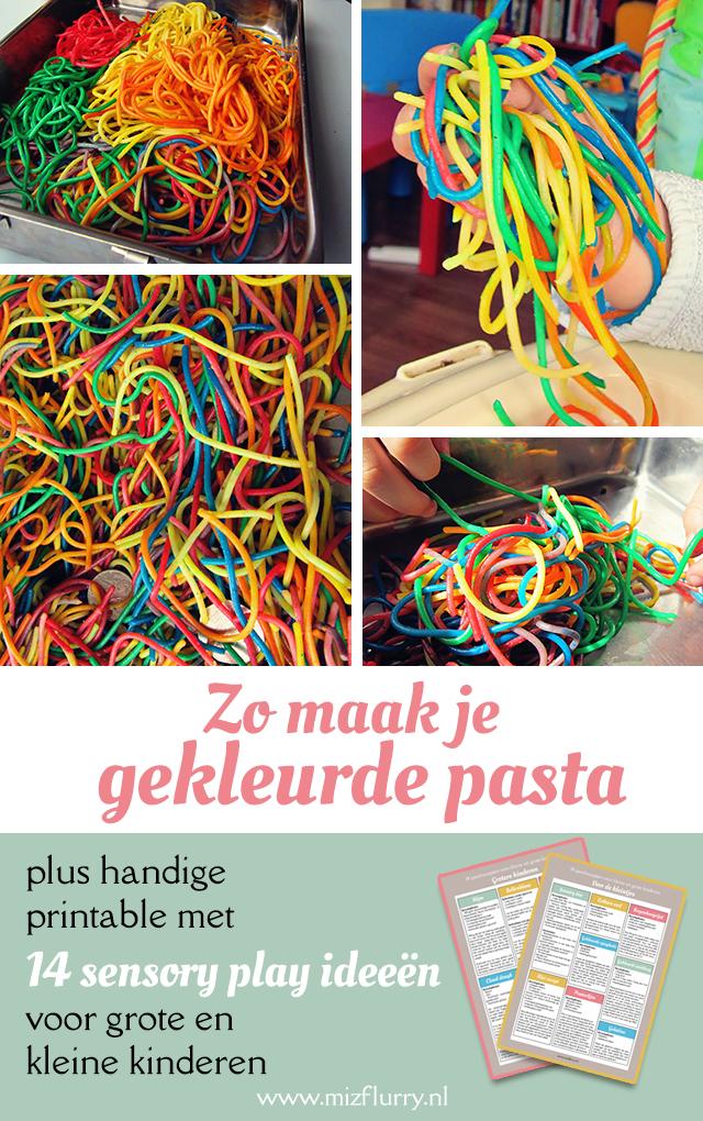 gekleurde spaghetti maken knutselen kinderen