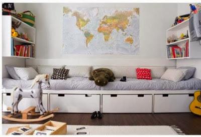 decorar con mapas habitación de niños, mapas para niños