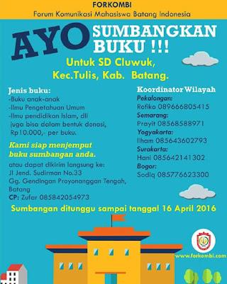 EVENT: Batang | Forkombi | Ayo sumbangkan buku  Untuk SD Cluwuk, Kec. Tulis Kab. Batang