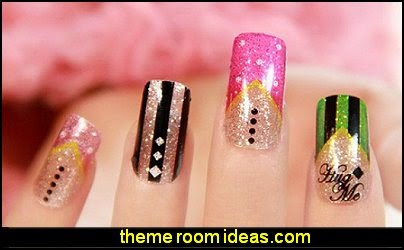 nail art-nail polish sticker,women glitter false nail nail sticke