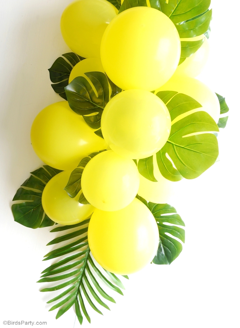 diy balloon fronds tropical party centerpiece party ideas party printables. Black Bedroom Furniture Sets. Home Design Ideas