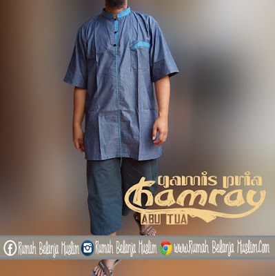Baju Gamis Pria Chamray Abu Tua
