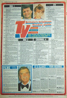Back page TV guide from the Sunday Sport UK tabloid newspaper