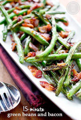 15-Minute Green Beans and Bacon from Iowa Girl Eats featured in The BEST Low-Carb and Gluten-Free Thanksgiving Side Dishes on KalynsKitchen.com