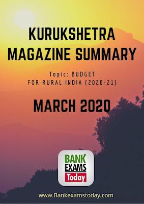 Kurukshetra Magazine Summary: March 2020