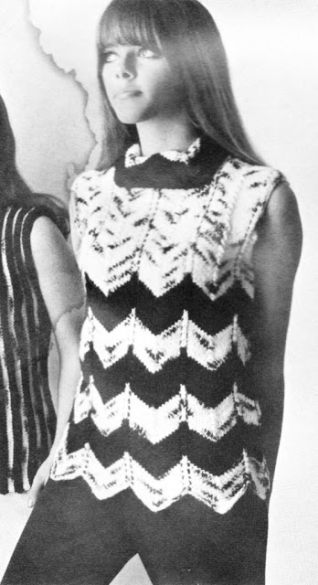 The Vintage Pattern Files: Free  1960's Knitting Pattern - Womens Chevron Shell Top
