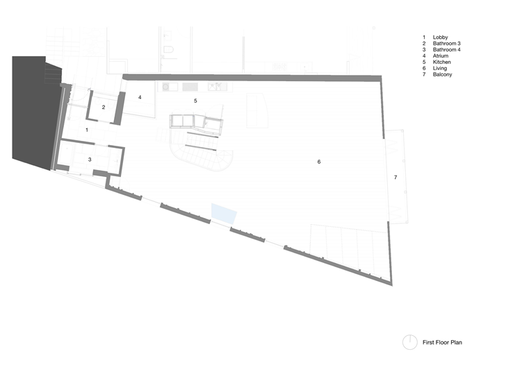 first floor plan of Lavender Bay Boatshed by Stephen Collier Architects