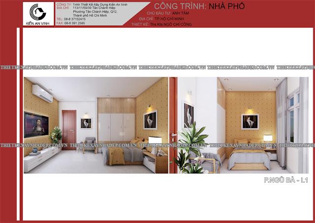 Mẫu thiết kế đẹp 2 tầng bán cổ điển mặt tiền 5m tại Long An Phong-ngu-ong-ba-1