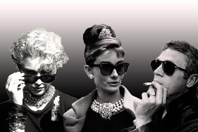 Madonna and Audrey Hepburn in Wayfarers and Steve McQueen wearing Persian 629.