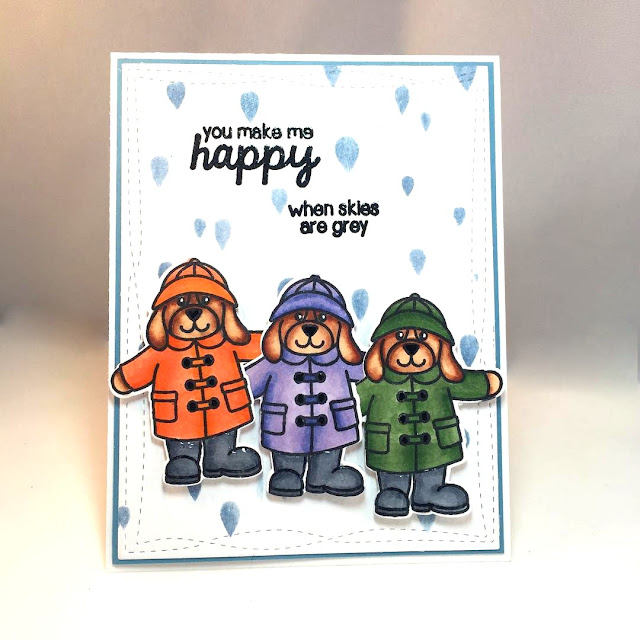 Sunny Studio Stamps: Rain or Shine puppy dog card by Claire Broadwater