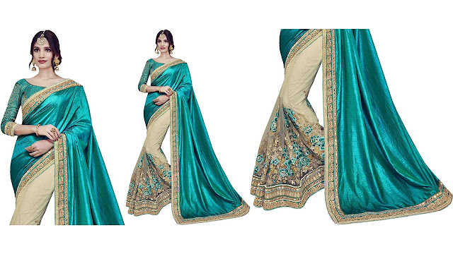 Zofey Self Design, Embroidered Bollywood Georgette, Net Saree  (Multicolor)