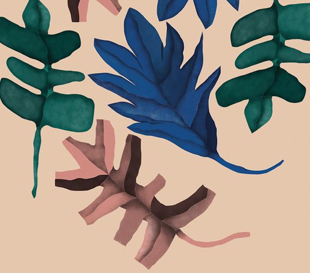 Proceso de ilustración de lámina botánica para Rachel´s Puzzle Things - Print detail of a leaves illustration.
