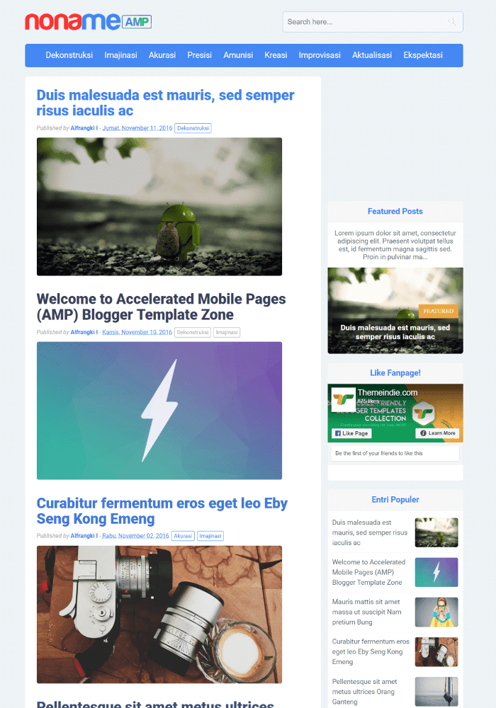 Noname Best Free AMP Blogger Templates