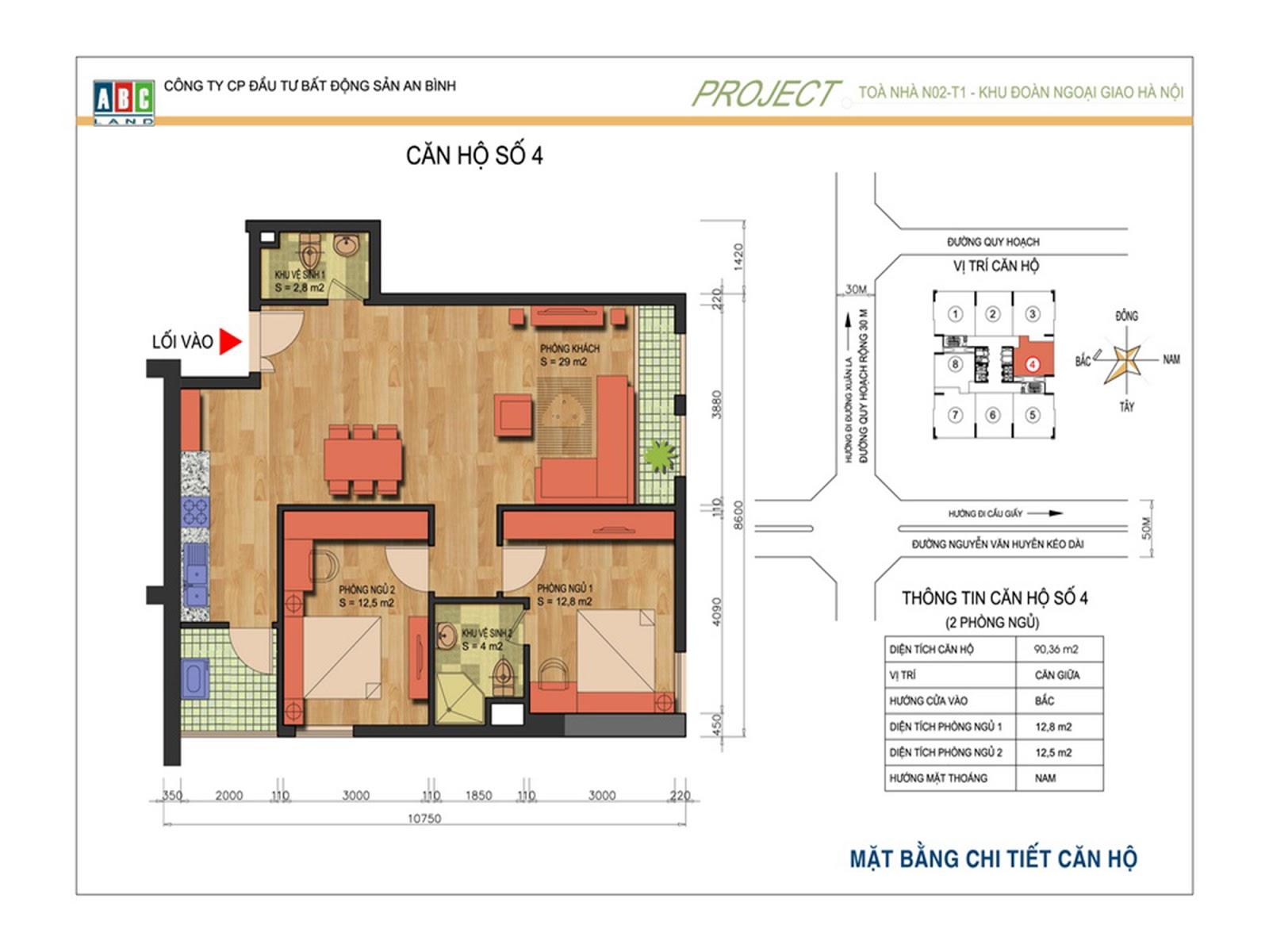 Thiết kế chung cư An Bình Complex - Căn số 04 và 08 - N02T1  Ngoại Giao Đoàn
