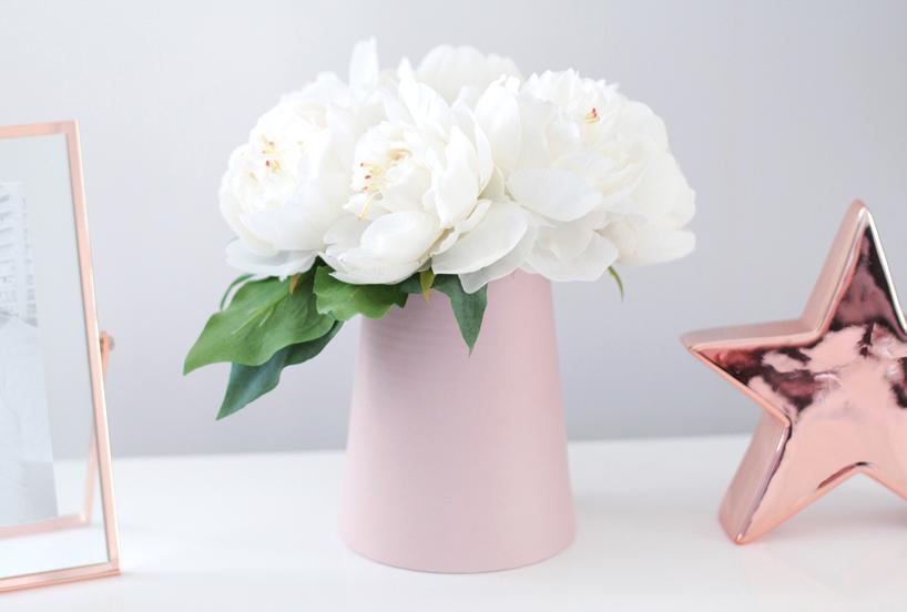 adairs pink vase white peonies