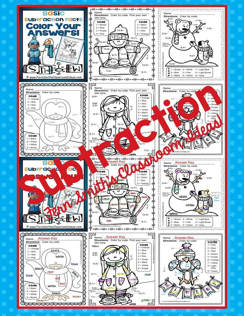 Fern Smith's Classroom Ideas Matching Winter Fun! Basic Subtraction Facts - Color Your Answers Printables
