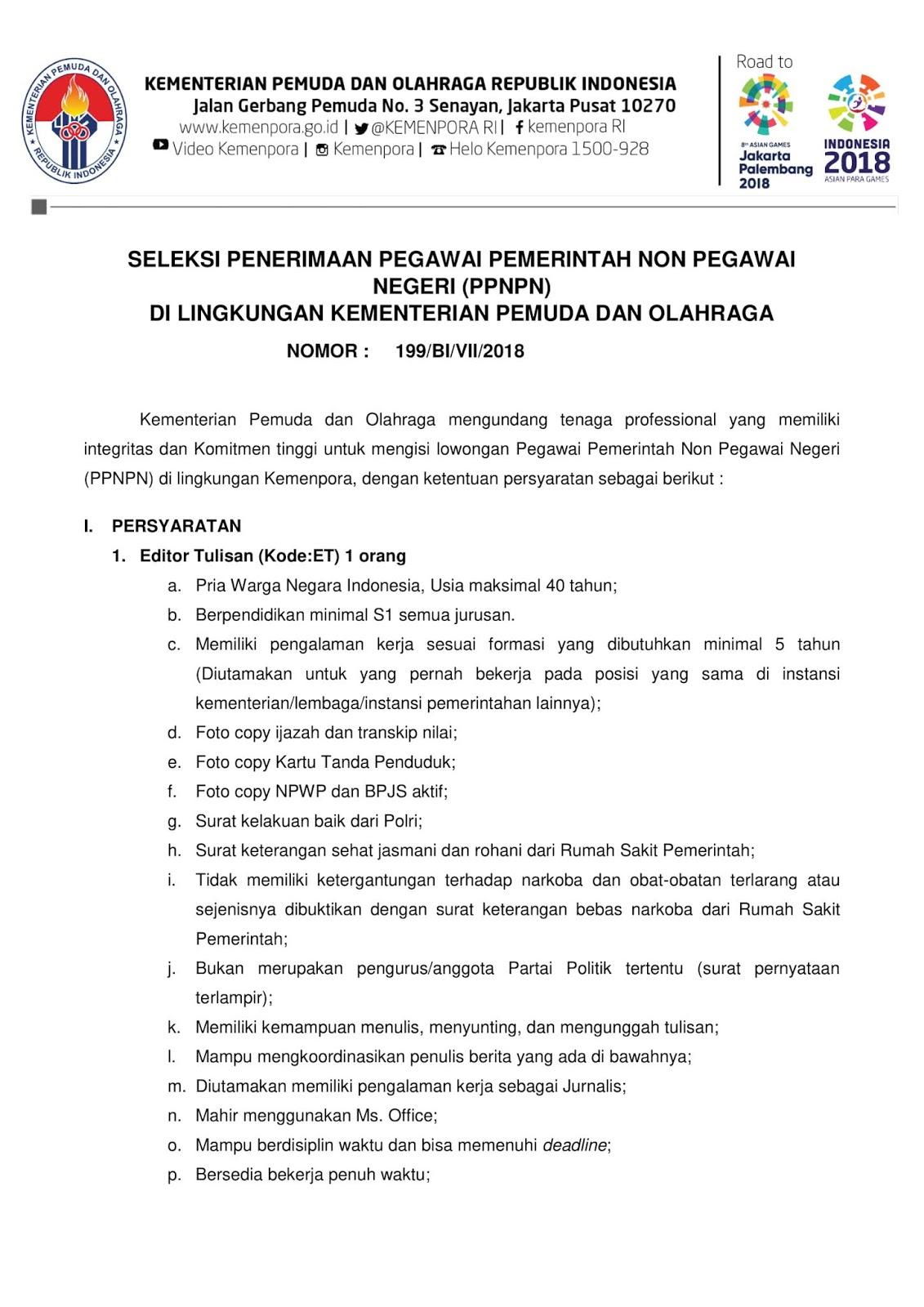 Rekrutmen PPNPN Kementerian Pemuda dan Olahraga