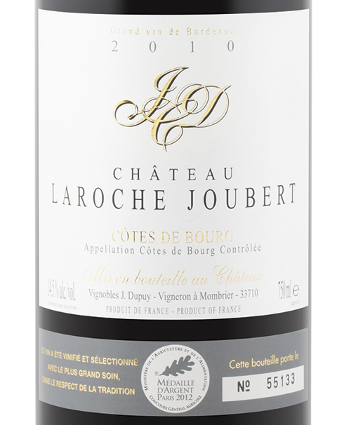 bottle shot chateau laroche joubert 2010