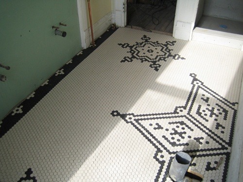 Hex Tile Floor Mosaic Design
