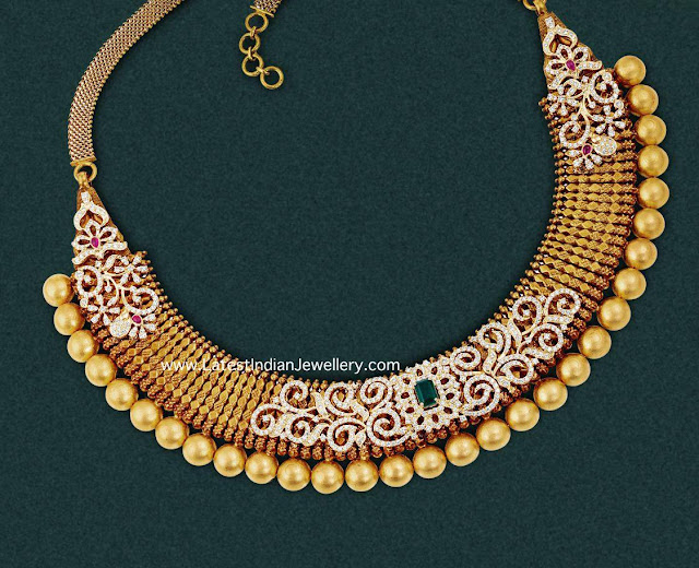 Traditional Necklace with Diamond Overlay