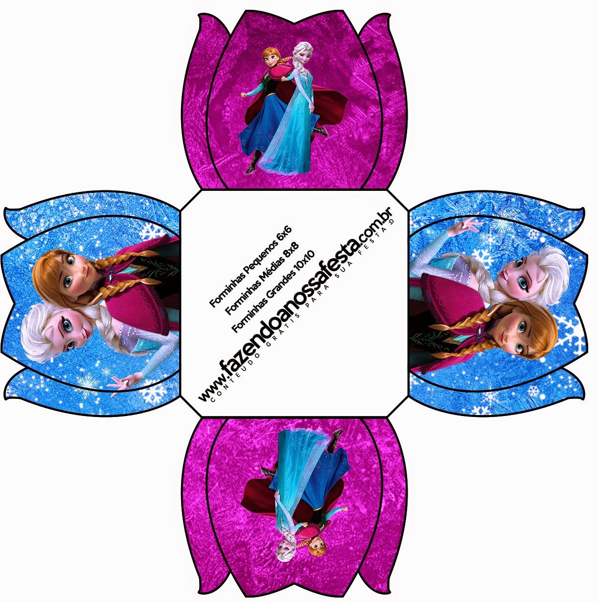 Cajas de Frozen Azul y Purpura para imprimir gratis.