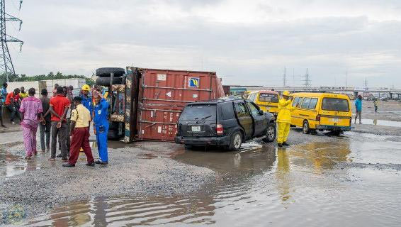 Driver narrowly escapes death as container crushes SUV