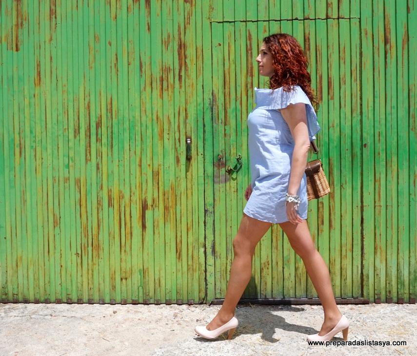 Vestido corto rayas azules